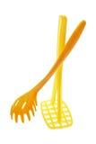 Schiacciatore di plastica del server e della patata degli spaghetti Fotografia Stock Libera da Diritti