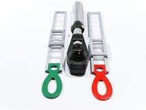 Schiascopio e stecche Immagini Stock