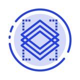Schichten, Gegenstand, Schicht, Linie Ikone der Server-blauen punktierten Linie vektor abbildung