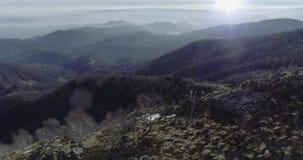 Schicken Sie Luftbrummenflug establisher über Waldholz mit Bergen und Flugzeugen im Winter nach Schnee im Berg-natur stock footage