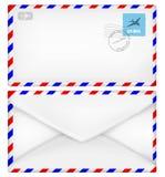 Schicken Sie Umschlag mit Stempeln per Luftpost Vector Illustration EPS10 Stockbilder