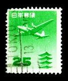 Schicken Sie 25 Yen, serie, circa 1953 per Luftpost lizenzfreies stockbild