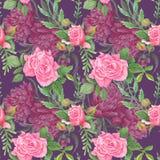 Schickes Aquarell-Blumenmuster Boho Lizenzfreie Stockfotografie