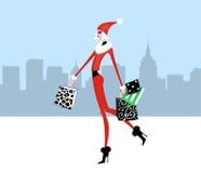Schickes Mädchen-Weihnachtseinkaufen in der Stadt vektor abbildung