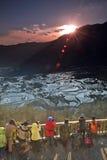Schießen des Sonnenaufgangs der Terrasse Stockbilder