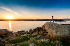 Schießen eines Sonnenuntergangs Stockfoto