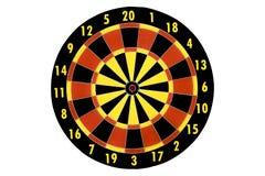 Schießen Sie Zielbrett, Zusammenfassung des Erfolgs auf weißem Hintergrund Stockbild