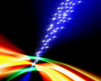 Schießen-Sterne über Regenbogen Lizenzfreie Stockfotos