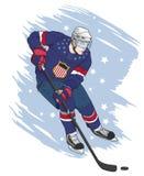 Schießenhockeyspielerillustration Lizenzfreie Stockfotos