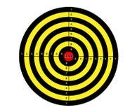 Schießenkennzeichen in den schwarzen, roten und gelben Farben Stockfotografie