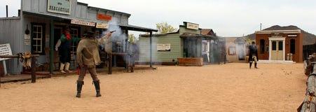 Schießerei und lebendes Geschichtspioniermuseum Stockfoto