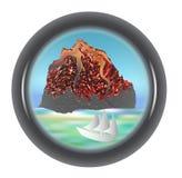 Schieben Sie Ansicht des Vulkans mit einem Schiff und einem Meer ineinander Stockfotografie