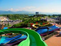 Schieben Sie am aquapark Tatralandia Stockfotografie