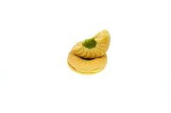 Schieben Sie Plätzchen mit Apfel gewürztem Creme- und Kiwiapfel ein Stockfoto
