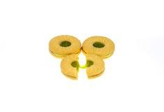 Schieben Sie Plätzchen mit Apfel gewürztem Creme- und Kiwiapfel ein Lizenzfreie Stockbilder