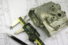 Schieber und mechanisches Teil stockbilder