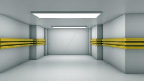 Schiebetüren im weißen Korridor