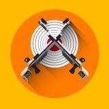 Schießen-Gewehr-Ziel-Ausrüstungs-Sport-Ikone Stockfotografie