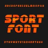 Schief, Alphabetvektorguß Tragen Sie Artschriftbild für Aufkleber, Titel, Poster oder Sportkleidungsübertragungen zur Schau lizenzfreie abbildung