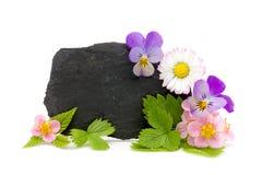 Schiefer mit Garten Blumen und copyspace Stockfotografie