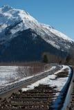 Schiene und schneebedeckter Berg Lizenzfreies Stockbild