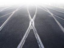 Schienenüberfahrt der Straßenbahn Lizenzfreie Stockbilder