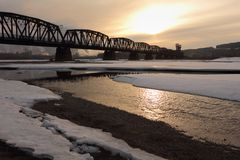 Schienen-Brücke, Fraser Fluss, Prinz George Lizenzfreie Stockfotos