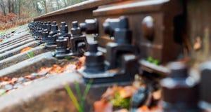 Schienen und Lagerschwellen, Bahnbolzen lizenzfreie stockfotografie