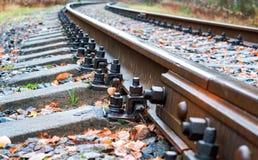 Schienen und Lagerschwellen, Bahnbolzen lizenzfreie stockbilder