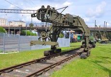 Schienenlegenmaschine PB-3M im Museum der Bahntechnologie Baranovichi, Weißrussland Lizenzfreies Stockbild