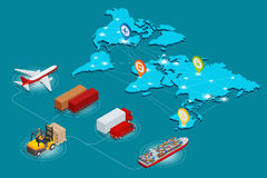 SCHIENENtransport der Luftfracht Illustration des Vektors 3d des globalen Logistiknetz Websitekonzeptes flacher isometrischer Tra Stockbilder