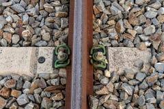 Schienenunterwerfungsdetail Stockbild