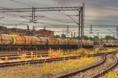 Schienenweisen-Behälterlastwagen Stockfoto