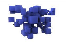 Schiera casuale dei cubi blu Immagine Stock Libera da Diritti