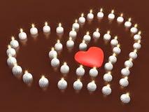 Schiera della candela di evento 3d come cuore Fotografia Stock Libera da Diritti