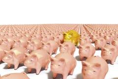 Schiera di Piggybank Immagini Stock