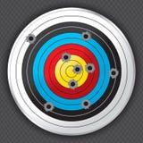 Schießstand-Gewehr-Ziel mit Einschusslöchern Stockfotografie