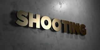 Schietend - het Gouden teken zette op glanzende marmeren muur op - 3D teruggegeven royalty vrije voorraadillustratie Stock Foto's