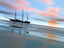 Schiff auf Anchorage an einem ruhigen Abend Lizenzfreie Stockbilder