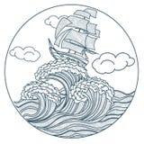 Schiff auf der Wellenikone lizenzfreie abbildung