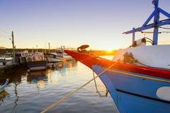 Schiff bei Sonnenuntergang Stockbild