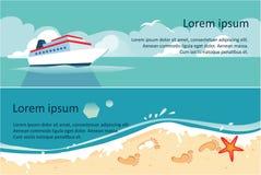 Schiff, blaue See- und des Strandes, der Sommerreise, Meer- oder des Ozeanshorizontale Fahnenvektor Illustration stock abbildung