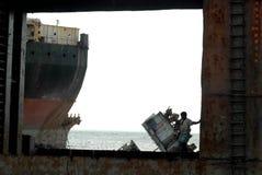 Schiff, das Bangladesch einläuft Stockfoto