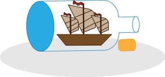 Schiff in der Flasche Stock Abbildung