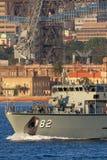 Schiff HMAS Huon M 82 Huon Class Minehunter Coastal der k?niglichen australischen Marine in Sydney Harbor stockbild