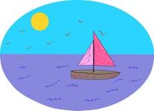Schiff im blauen Meer mit Seemöwen Stockfoto