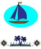 Schiff im Meer und im Muster Stockfoto
