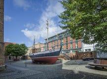Schiff im Seemuseum, Stralsund, Deutschland Lizenzfreies Stockfoto