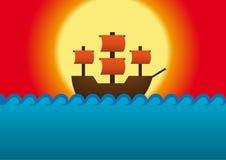 Schiff in Meer Stockfoto