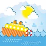 Schiff in Meer an einem sonnigen Tag Lizenzfreies Stockbild